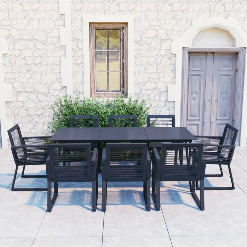 Ensemble à dîner d'extérieur 9 pcs Rotin PVC Noir