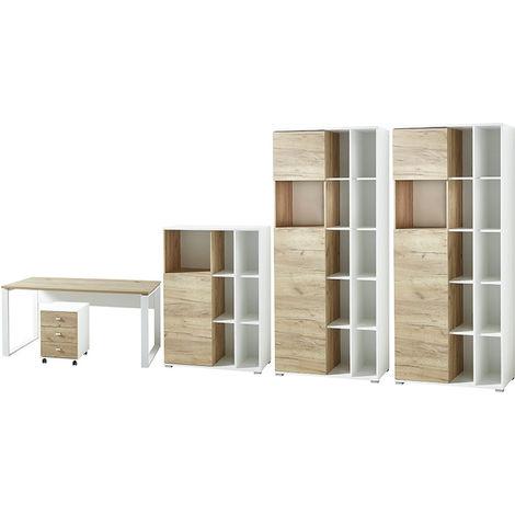 Ensemble avec 1 bureau et 2 armoires coloris imitation chêne blanc / chêne de Navarre -PEGANE-