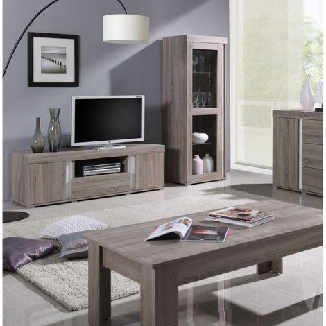 Ensemble AVIGNON pour salon. Meuble TV + Vitrine petit modèle (avec LED). - Marron