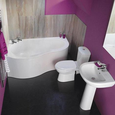Ensemble baignoire d\'angle, lavabo et toilette WC moderne - CSBDL009-T