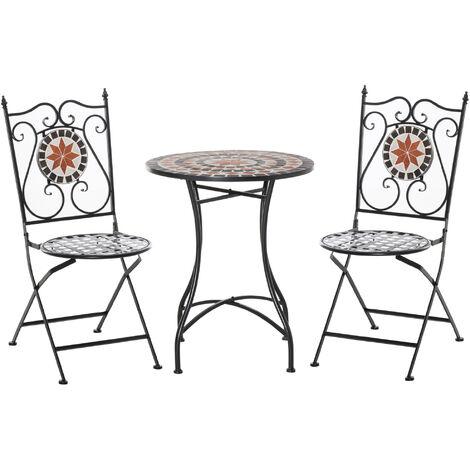 Ensemble bistro 2 places 3 pièces style fer forgé mosaïque céramique motif rose des vents chaises pliables métal époxy noir