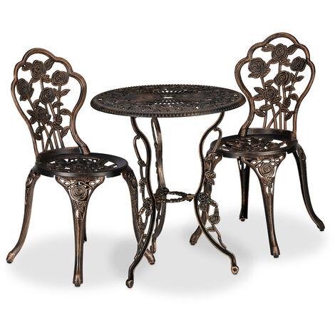 Ensemble bistrot, 3 pièces, table, 2 chaises, balcon, terrasse, set vintage, fonte d'alu, bronze