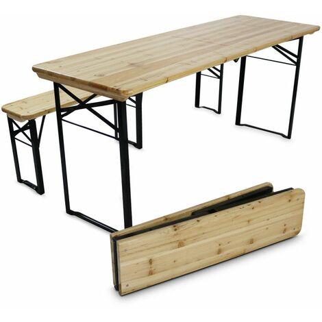 Ensemble brasseur table et bancs en bois pliants 218 cm