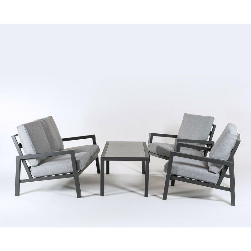 Ensemble canapé de jardin en aluminium renforcé de couleur anthracite, canapé 2 places + 2 fauteuils + table basse, 4 places, coussins de couleur