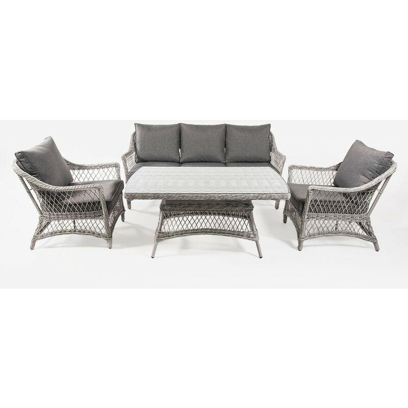 Ensemble canapé de jardin, table basse 140 cm, 2 fauteuils et 1 canapé 3 places, coloris gris, aluminium et rotin synthétique ouvert rond, 5 places