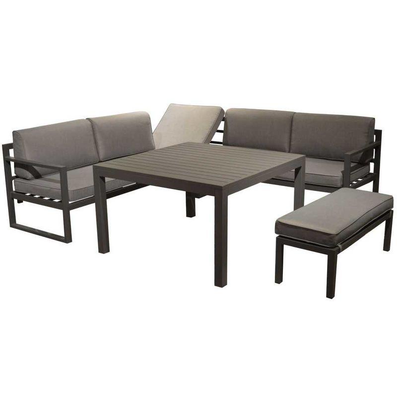 Ensemble Canapé Dangle Table Et Banc Dextérieur Aluminium Gris