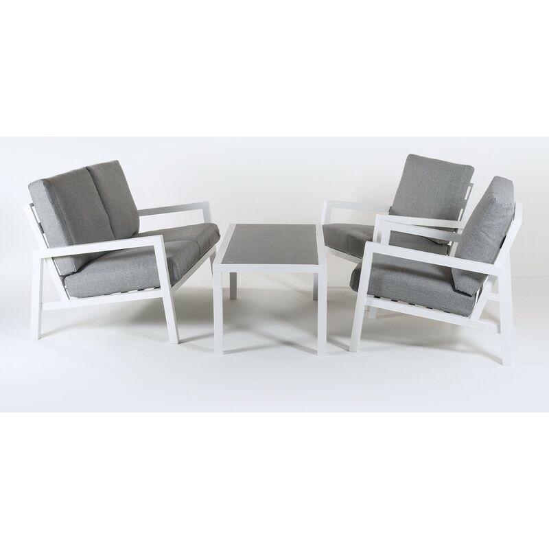 Ensemble canapé de jardin en aluminium renforcé de couleur blanche, canapé 2 places + 2 fauteuils + table basse, 4 places, coussins de couleur grise