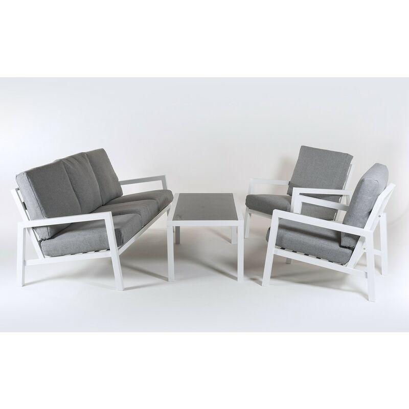 Ensemble canapé de jardin en aluminium renforcé de couleur blanche, canapé 3 places + 2 fauteuils + table basse, 5 places, coussins de couleur grise