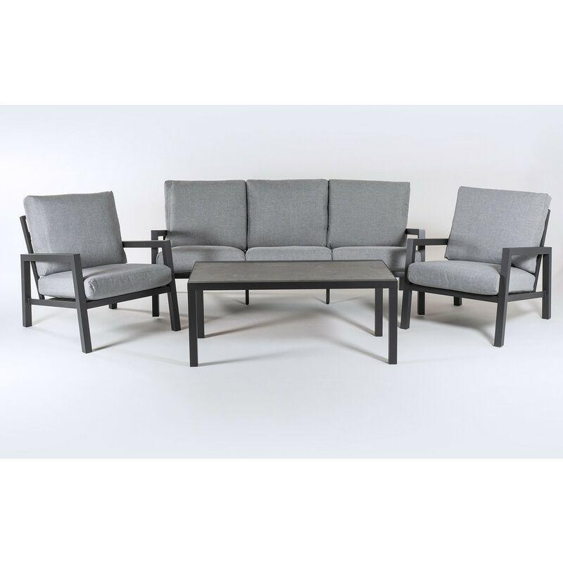Ensemble canapé de jardin en aluminium renforcé de couleur Anthracite, canapé 3 places + 2 fauteuils + table basse, 5 places, coussins de couleur