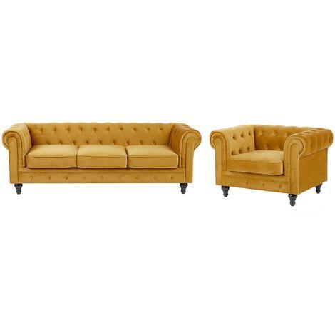 Ensemble canapé et fauteuil en velours jaune moutarde 4 places CHESTERFIELD