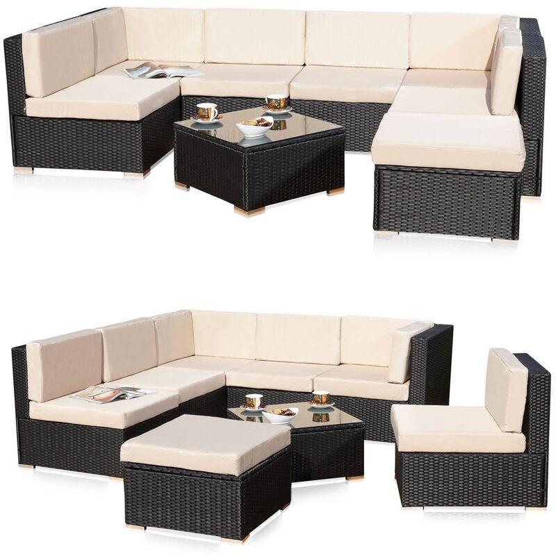 Ensemble canapé fauteuil de jardin, sièges de jardin en rotin, mobilier de jardin, salon, ensemble de sièges terrasse - MUCOLA