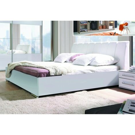 Ensemble Chambre à coucher VERONA : Armoire, Lit 160x200, 2 chevets , matelas à mémoire de forme. - Blanc