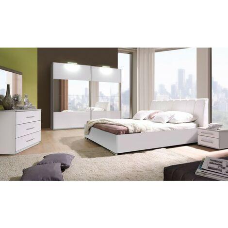 Ensemble Chambre à coucher VERONA : Armoire, Lit avec option coffre 160x200, 2 chevets , matelas à mémoire de forme. - Blanc
