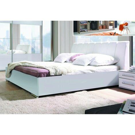 Ensemble Chambre à coucher VERONA : Armoire, Lit avec option coffre 180x200, 2 chevets , matelas à mémoire de forme. - Blanc