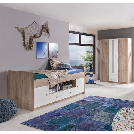 Ensemble chambre ado/enfant en Imitation chêne San Remo, rechampis blanc - 90 x 200 cm -PEGANE-