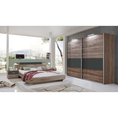 Ensemble chambre adulte Lit futon avec éclairage LED - 140 x 200 cm ...