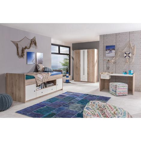 Ensemble chambre enfant/ado en Imitation chêne San Remo, rechampis blanc - 90 x 200 cm -PEGANE-