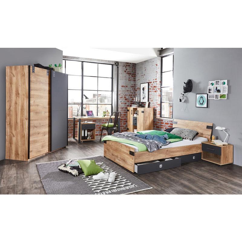 Ensemble chambre enfant/adolescent complète Imitation chêne poutre, rechampis graphite - 90 x 200cm -PEGANE-