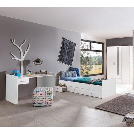 Ensemble chambre enfant en blanc - 90 x 200 cm -PEGANE-