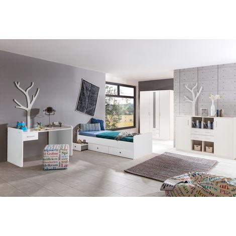 Ensemble chambre enfant en coloris blanc - 90 x 200 cm -PEGANE-