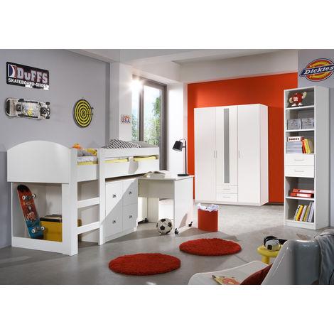Ensemble chambre enfant en coloris blanc - L204 x H127 x P98 cm -PEGANE-
