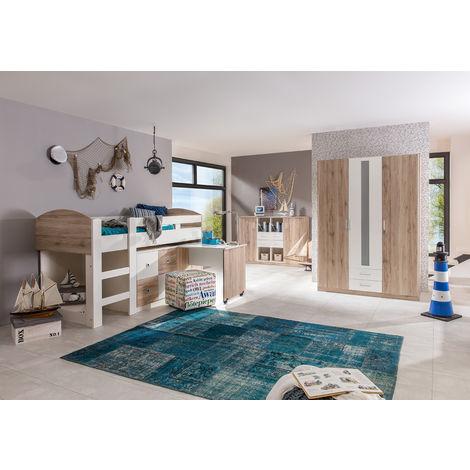 Ensemble chambre enfant en Imitation chêne San Remo, rechampis blanc - L204 x H127 x P98 cm -PEGANE-