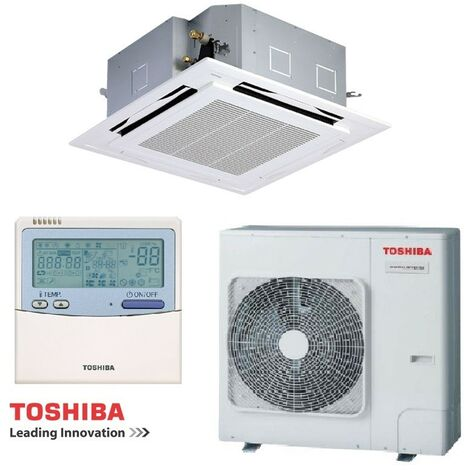 Ensemble climatisation 10KW cassette 4 voies 950x950mm reversible monosplit tri 380V Digital Inverter TOSHIBA