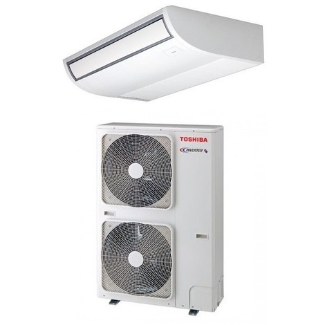Ensemble climatisation console plafonnier 14KW inverter reversible R410 complet avec groupe extérieur Tri 380V SDI TOSHIBA