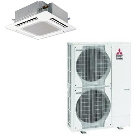Ensemble complet climatisation 12.5W cassette 4 voies reversible Power Inverter 900x900mm + unité extérieure mono 230V + façade