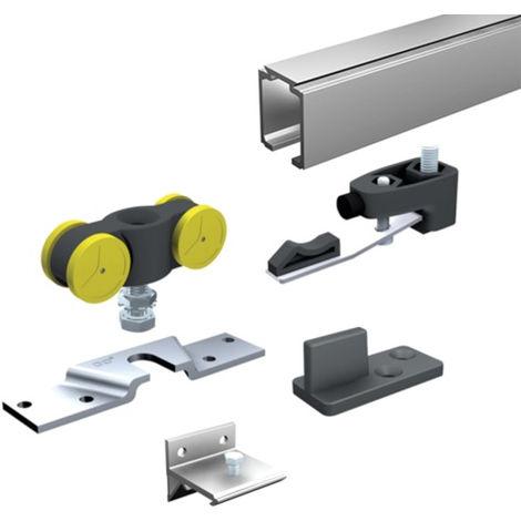 Ensemble complet MANTION pour portes 80kg (1 garniture SAF80+5 supports 11013+ rail 1108 L.2 m) - SAF80A-200
