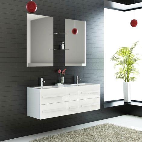 Ensemble Complet Meuble Salle De Bain Eval 2 Vasques 2 Miroirs