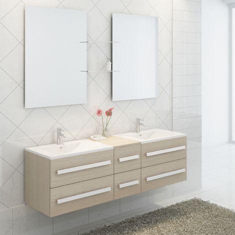 Ensemble complet meuble salle de bain pure 2 vasques 2 - Meuble 2 vasques salle de bain ...