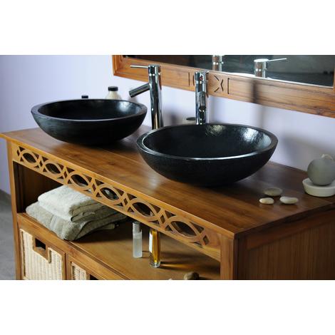 Ensemble complet salle de bain teck 140 attessam vasque blanc - 234