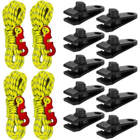 Ensemble Corde / Boucle Coupe-Vent Pour Tente, 10 Pinces Pour Tente + 4 Boucles Pour Corde Coupe-Vent De 3 M