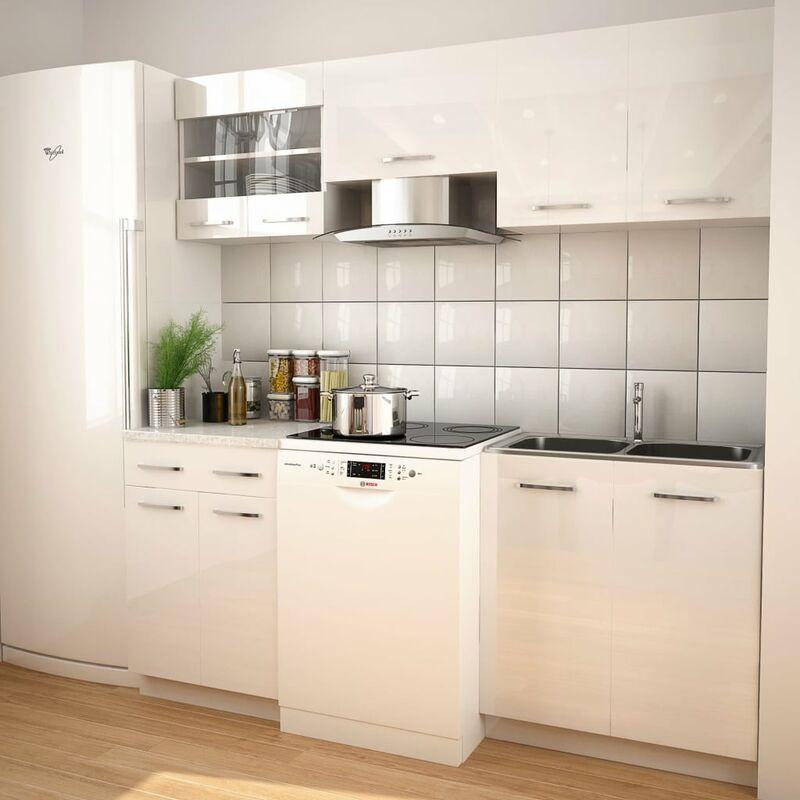 Zqyrlar - Ensemble d'armoires de cuisine 5 pcs avec hotte Blanc brillant