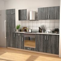Ensemble d'armoires de cuisine 7 pcs avec hotte Aspect wengé