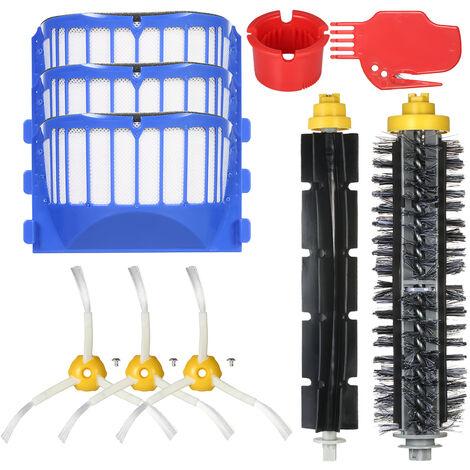Ensemble de 10 accessoires pour aspirateur serie IRobot6 (brosse en plastique 6/7 + brosse a cheveux + 3 brosses laterales + 3 filtres + 2 nettoyants)