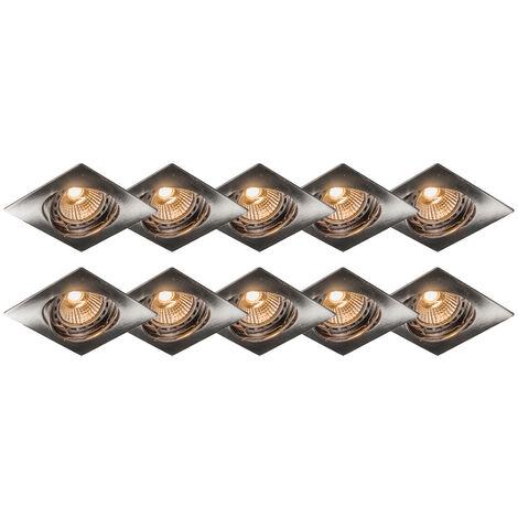 Ensemble de 10 spots inclinables Modernes en acier encastré - Edu Qazqa Moderne Cage Lampe Luminaire interieur
