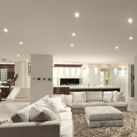 Ensemble de 10 spots LED encastrables au plafond lampes de couloir éclairage de salon spots argenté en carton endommagé