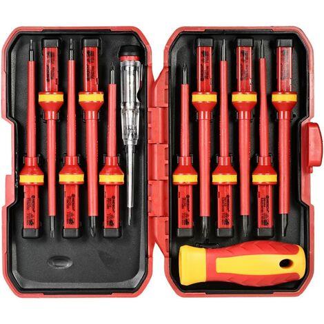 Ensemble de 13 tournevis d'électricien isolés magnétiques à embouts interchangeable - 1000 V - Embouts cruciformes et plats - Kit de réparation