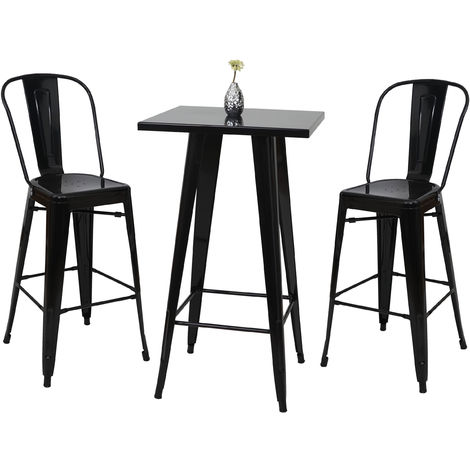 Ensemble de 1x table haute + 2x tabouret de bar HHG-866, métal ~ noir