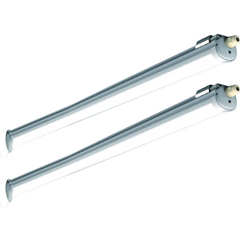 Ensemble de 2 baignoires LED lampe atelier sous-sol entrepôt halls salle humide lumière du jour plafonnier