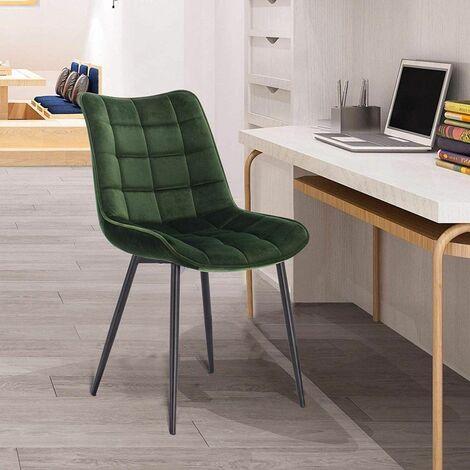 Ensemble de 2 chaise cuisine sombre velours vert avec des pieds en métal dossier Elif