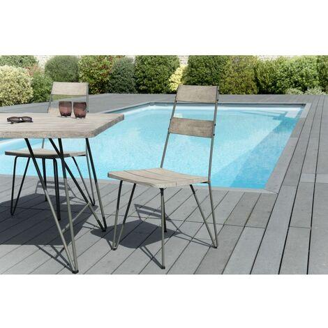 Ensemble de 2 chaises de jardin scandinaves en bois Teck teinté grisé et métal. - Marron