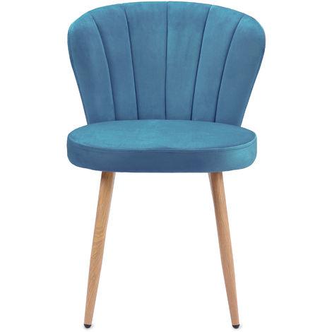 Ensemble de 2 chaises de salle à manger en tissu de velours Fauteuil Oyster Chaise de chambre à coucher avec dossier cousu (bleu, 2)