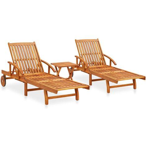 Ensemble de 2 chaises longues avec table Bois d'acacia massif