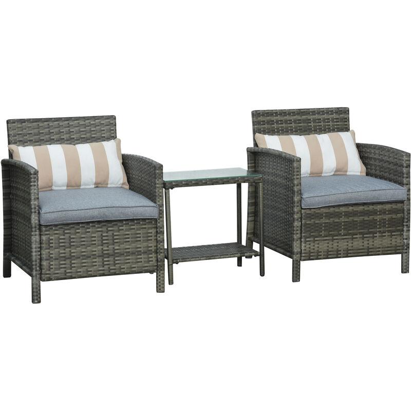 Ensemble de 2 fauteuils de jardin grand confort avec coussins et table basse résine tressée imitation rotin coussins gris