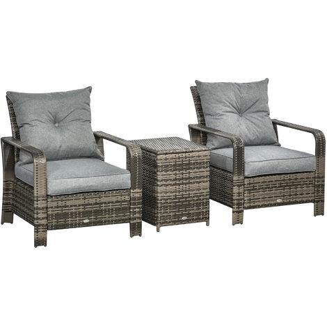 """main image of """"Ensemble de 2 fauteuils de jardin avec coussins et table basse coffre"""""""
