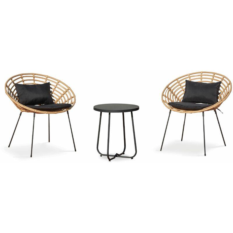 Ensemble de 2 fauteuils imitation rotin et table basse ronde Antalya - Naturel - Marron