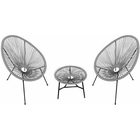Ensemble de 2 fauteuils œuf + table ACAPULCO gris